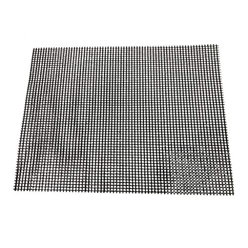 Bbq Grilling Mesh Wire Net Barbecue Stainless Steel Outdoor Cooking Net 40X30Cm Non Stick Mesh Reusable Heat Resistant Bbq Teflon Grill Mats For Baking, Barbecue And Oven (black)