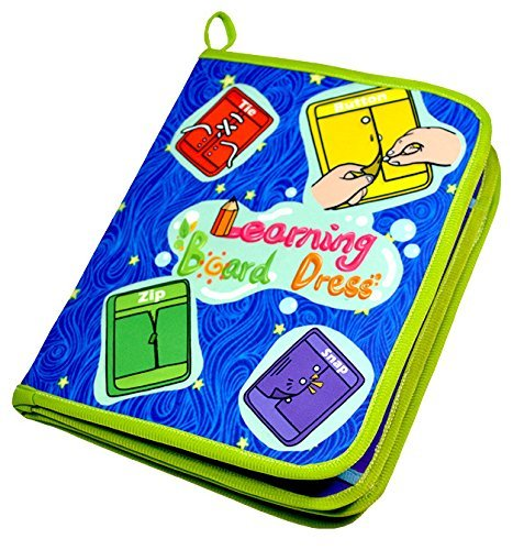 Early Learning Basic Life Skills Toys Book Learn to Dress Boards Toys Book - Zip, Buckle, Snap, Button, Lace and Tie