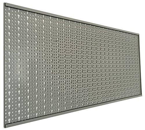 XL Lochblech aus Metall mit Schlüssellochung 25 mm. Pulverbeschichtet in Hellgrau, Stärke ca. 1 mm. Maße 98 x 46 x 1 cm. - 2