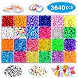 VICOVI 3640+pcs Pony Beads Kit for Bracelet Jewelry Making, Hair Beads, Include 23 Colors Rainbow Beads(9mm),...