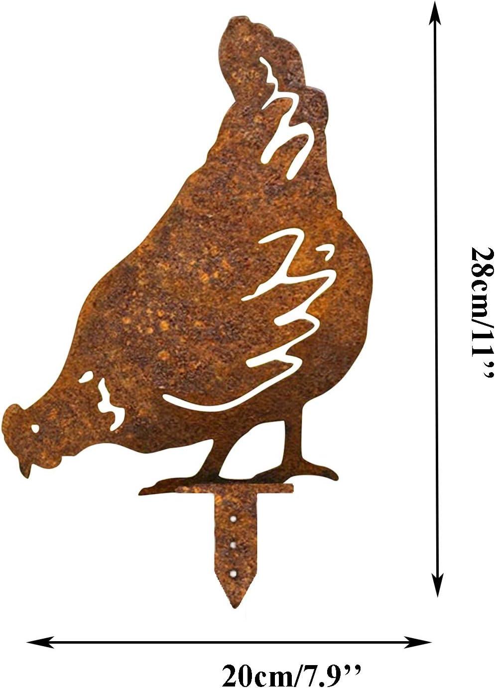 Lebensechte Henne Aush/öhlen Huhn Silhouette Dekorative Garten Pf/ähle Metall Henne Schatten Dekor Kunst 5 PC F/ür Garten Im Freien Hahn Metall Tier Silhouette Pfahl F/ür Yards