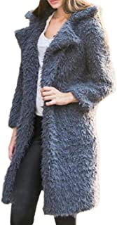 Howely Womens Turn Down Collar Long-Sleeve Overcoat Long Sections Fluffy Jacket