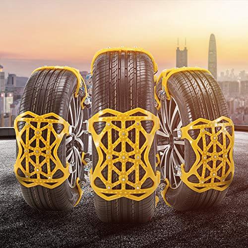 TTLIFE Auto Schneeketten 6 Stück Universal Reifenketten für Autoräder Rutschfeste Schneesocken für Reifen Breite 165–285 mm Notfall Traktion Tragbar Auto Schneereifenketten Einfach zu Montieren (gelb)