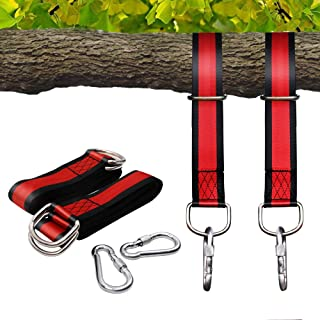 Egofine Tree Swing Hanging Strap Kit - 5 FT Long Holds 2200lbs with 2 Snap Carabiner Hooks for Outdoor Swing Hangers and Hammocks, Red