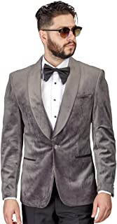 AZAR MAN Slim Fit 1 Button Velvet Shawl Dinner Jacket