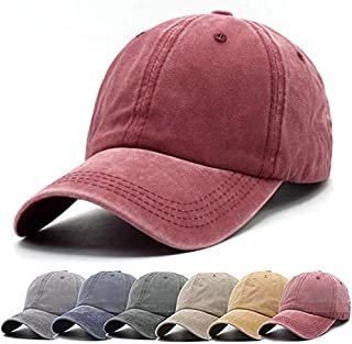 Men Women Baseball Cap Vintage Cotton Washed Distressed Hats Twill Plain Adjustable Dad-Hat
