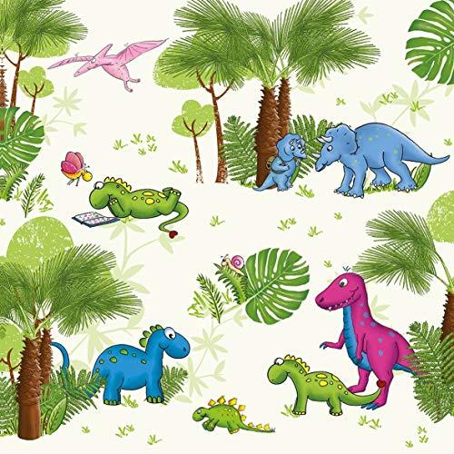 20 servetten speelse dinosaurus als tafeldecoratie voor verjaardag voor jongens 33x33cm