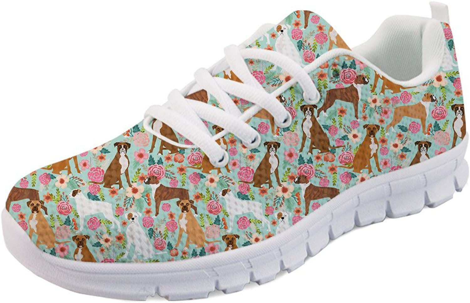 INSTANTARTS Cute Cartoon Vintage Boxer Floral Dog Mesh Sneaker Walking Sport Flat shoes