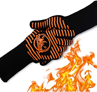 BBQ Grill Gloves – Extra Large Extreme-Heat-Resistant BBQ Grilling Gloves with Nonslip Silicone Grip – with Safety Thermal...
