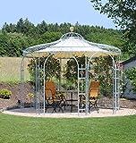 ELEO Florenz runder Gartenpavillon aus Metall mit Sonnensegel, Ø 3,7 Meter (Oberfläche: feuerverzinkt)