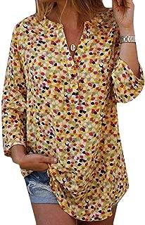 Loyomobak Women T-Shirt Plus Size Floral Printed V Neck Long Sleeve Loose Top T-Shirt Blouse