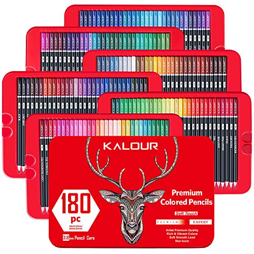 Kalour 180 Premium Colored Pencil Set for Adult coloring Book - Artists Professional Soft Core Drawing Pencils - Ideal for Sketching Shading Blending Crafting - Art Gift Tin Box for kids Beginners