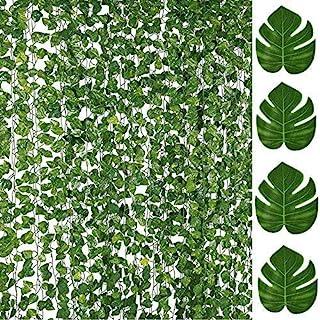 86FT Artificial Vines Fake Ivy Foliage Flowers Hanging Garland 12PCS Individual strands plus 12PCS Faux Monstera Tropical ...