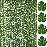 84FT Artificial Vines with Leaves Fake Ivy Foliage Flowers Hanging Garland 12PCS Individual Strands Plus 12PCS Faux Monstera Tropical Palm Leaves,Home Party Wall Garden Wedding Decors Indoor Outdoor