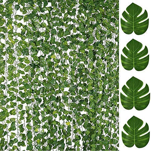 84FT Artificial Vines with Leaves Fake Ivy Foliage Flowers Hanging Garland 12PCS Individual Strands Bonus 12PCS Faux Monstera Tropical Palm Leaves,Home Party Wall Garden Wedding Decors Indoor Outdoor