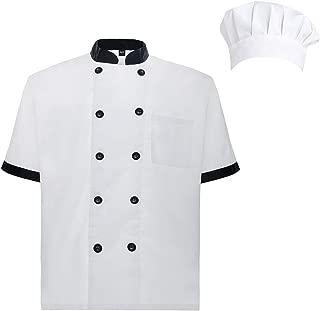 Unisex Short Sleeve Cooking Chef Coat Jacket with Adjustable Hat