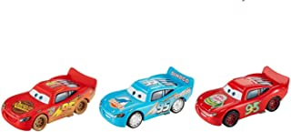 Cars Collection of 3 Diecast Lightning McQueen Bling Bling Blue Dinoco Dinosaur Logo, Dirt Track, Smell Swell Disney Pixar Die Cast Set 1:55 Scale