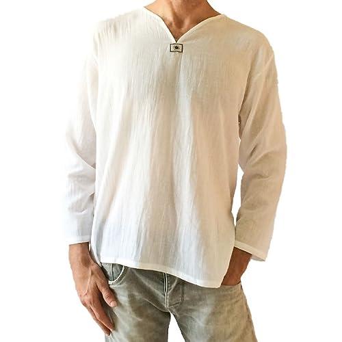 7157a639e85 Love Quality Men s White T-Shirt 100% Cotton Hippie Shirt V-Neck Beach