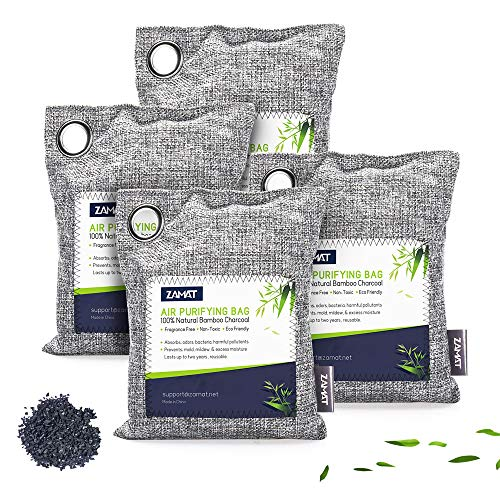 ZAMAT 800g/4pack Bamboo Charcoal Air Purifying Bags, Efficient Odor Eliminators...