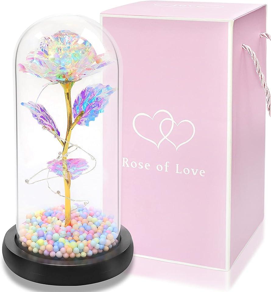 Rose im Glas, Ewige Rose im Glas mit LED-Licht, Die Schöne und das Biest Rose, Lampe der Rose Geburtstagsgeschenk für Frauen, Muttertagsgeschenk für Mama, Valentinstag Jubiläum Geschenk