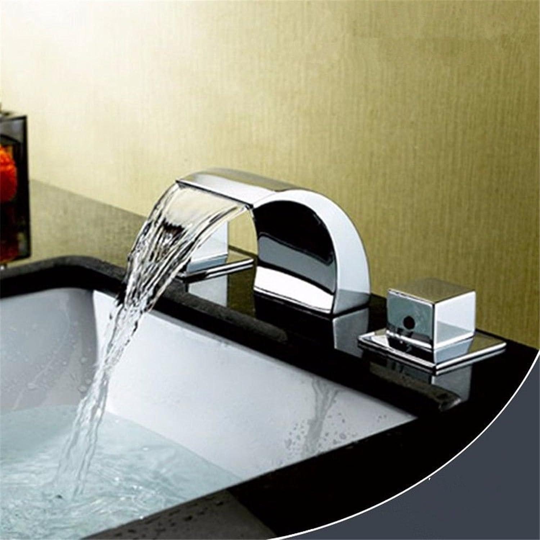 AQMMi Waschtischmischer Mischbatterie Für Badarmatur Moderne Led-Badewanne Wasserfall Mit Warmen Und Kaltem Wasser Keramik 3 Lcher Mit Doppelgriff Armatur Badarmatur Mischbatterie Waschbeckenarmatur
