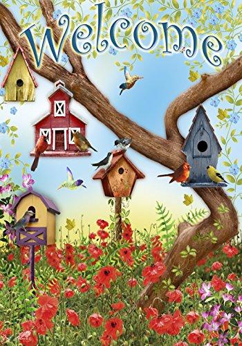 Toland Home Garden 112097 Poppies & Birdhouses 12.5 x 18 Inch Decorative, Garden Flag-12.5