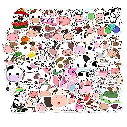 JZLMF 50 Pegatinas Personalizadas de decoración de Vacas Bonitas de Dibujos Animados, Pegatinas Creativas para Equipaje, Nevera, Guitarra, Scooter