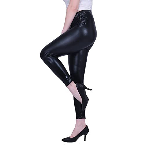 ae20a686850 HDE Women s Plus Size Clubwear Shiny Metallic Leggings Liquid Wet Look Pants