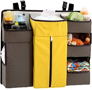 Baby Bed Organizers Baby Crib Diaper Caddy Hanging Diaper Organizer Storage For Baby Nursery Hang Crib  Changing Table Oxford Cloth Nursery Organizer Color Yellow Size 60X50X12CM