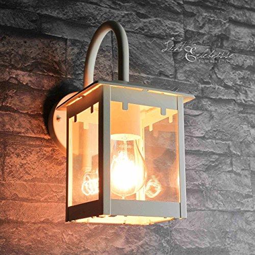 Lámpara de pared resistente en color crema, E27, hasta 60 W, 230 V, lámpara de pared de metal, para jardín, terraza, camino, iluminación exterior