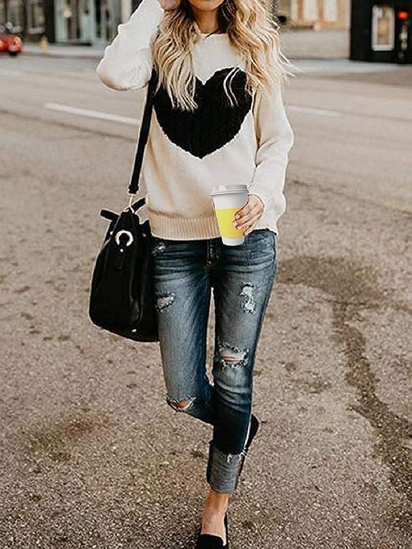 Tuopuda Maglione Donna Primavera Invernali Felpa Ragazza Sweatshirt Oversize Pullover Manica Lunga Casual Moda Girocollo Tops Sweater
