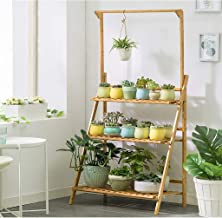 $49 » Bamboo 3-Tier Hanging Plant Stand - Planter Shelves Flower Pot Organizer Storage Rack Folding Display Shelving Plants Shelf Unit Holder for Home Patio Lawn Garden Balcony - 27.6x15.7x37.8in