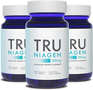 TRU NIAGEN Nicotinamide Riboside - Patented NAD Booster for Cellular Repair & Energy, 300mg Vegetarian Capsules, 300mg Per Serving, 30 Day Bottle (3 Pack)