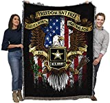 US Army - Freedom Isn't Free - Cotton Woven Blanket Throw - Made in The USA (72x54)