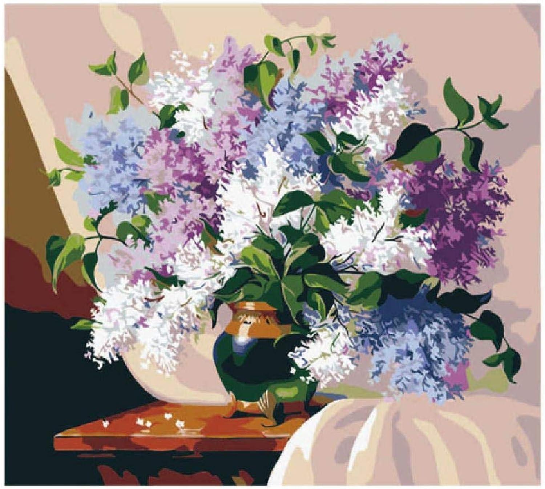 Envío 100% gratuito Jjyyh Pintura por Números Flores Florecientes C 80X100Cm. 80X100Cm. 80X100Cm. DIY Preimpreso Lienzo Regalo De Pintura Al óleo para Adultos Niños Pintura por Número Kits para La Decoración Casera  preferente