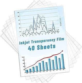 Inkjet Transparency Film 40 Pack, Shynek Clear Transparency Photo Paper Print Color Transparency Transparent Transfer Pape...