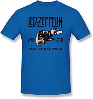 FQZX Men's Led Zeppelin The 1975 World Tour T Shirt RoyalBlue