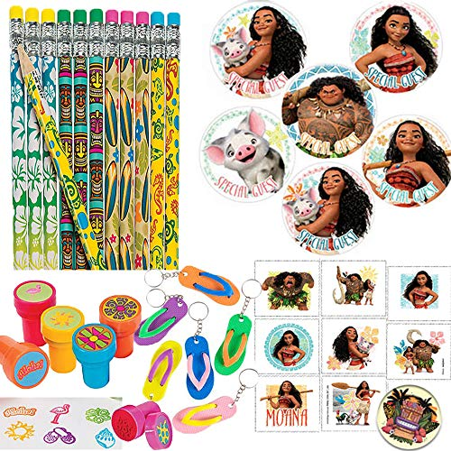 Another Dream Tropical Sea Disney Moana Hawaiian Summer Luau Tropical Themed Party Favor Supplies Pack Includes Pencils, Stickers, Stampers, Tattoos, and Keychains!