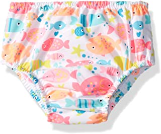 Swim Time Girls' Baby Reusable Swim Diaper UPF 50+ with Side Snaps, White/Multi Fishy, X Large 18-24M