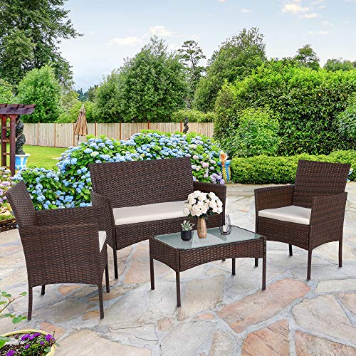 SUNLEI 4-Piece Rattan Patio Furniture Set, Garden Lawn Pool Backyard Outdoor Sofa Wicker Conversation Set with Glass Coffee Table, Loveseat & 2 Cushioned Chairs(Brown)