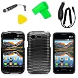 Phone Case Cover Cell Phone Accessory + Car Charger + Extreme Band + Stylus Pen + LCD Screen Protector + Yellow Pry Tool for Straight Talk LG Optimus Fuel L34C / Verizon LG Optimus Zone 2 VS415 Vs415pp (Carbon Fiber Design)