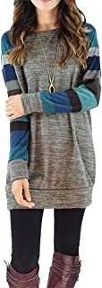 Women's Color Block Long Sleeve Sweatshirt Cotton Jersey Tunic Tops