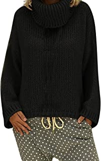 iHHAPY Women's Sweater Knitted Pullover Sweatshirts Turtleneck Casual Oversize Pullover Long Sleeve Tops Jumper Elegant