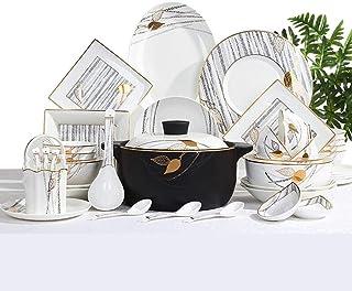 ZJN-JN Plaques Céramique de Vaisselle 60 pièces, Bol/Plat/marmite à Soupe/cuillère | Ensembles en Porcelaine Dîner, Proces...