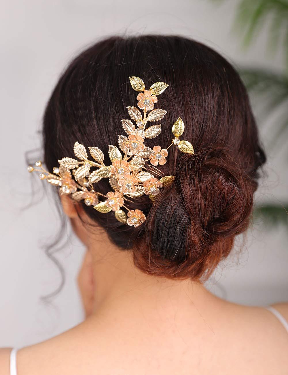 Denifery New product type Fees free!! Gold Bridal Wedding Hair Piece Pin Leaf Comb