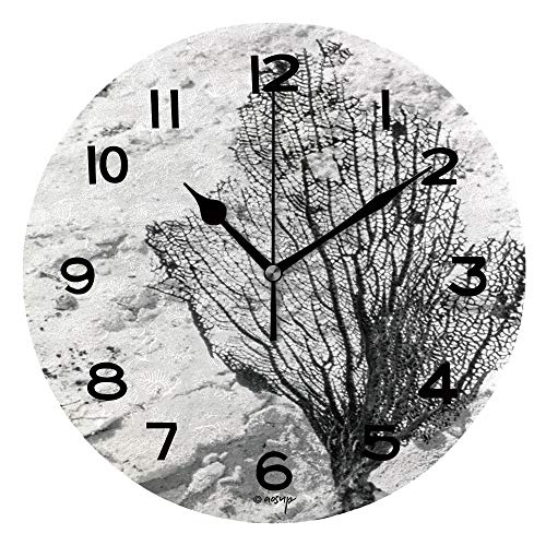 ALUONI Print Round Wall Clock, 10 Inch Dried Seaweed Bract Quiet Desk Clock for Home,Office,School IS084016