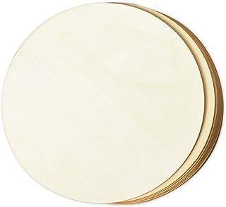 دوائر خشبية للحرف اليدوية، قطع أقراص دائرية خشبية غير مكتملة., بني, 8 Pack, 12 Inches