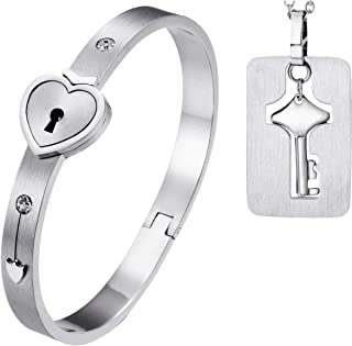 His and Hers Matching Set Couple Titanium Only You Have My Key Bangle Bracelet Magnetic Simple Korean Style Anti-Fatigue in a Gift Box