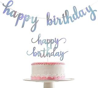 Shiny Happy Birthday Banner and Shiny Happy Birthday Cake Topper- Birthday Party Decoration Supplies