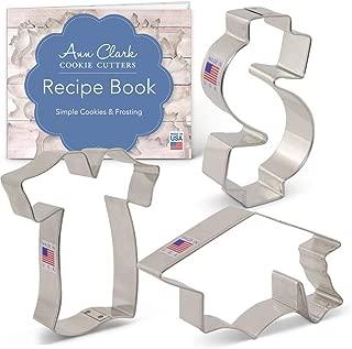 Ann Clark Cookie Cutters 3-Piece Graduation/New Job Cookie Cutter Set with Recipe Booklet, Dollar Sign, Graduation Cap and Graduation Gown